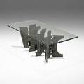 Paul evans unusual sculpted bronze and glass cocktail table 1972 signed pe 72 16 x 48 x 24