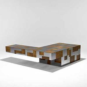 Paul evans unusual burl and chrome cantilevered cityscape coffee table signed paul evans 15 12 x 48 x 60
