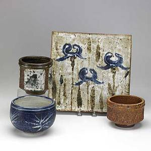 Otto and vivika heino four glazed stoneware items three vessels and a large tile with irises each signed vivika  otto tallest vessel 5 tile 12 sq