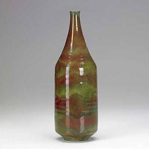 Natzler tall bottle fine and rare red and apple green lustrous glaze with melt fissures signed natzler paper label n360 11 x 3 12