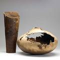 David ellsworth two claro walnut burl vessels 1983 and 1988 both signed dated and titled 11 x 17 and 17 12 x 7