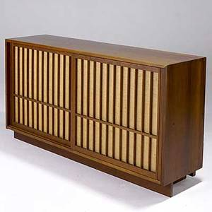 George nakashima cherry credenza with pandanus clothlined doors marked 2435 on back 33 x 60 x 16