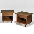 George nakashima widdicomb pair of walnut nightstands widdicomb fabric labels 19 12 x 22 x 20