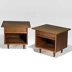 George nakashima widdicomb pair of walnut nightstands widdicomb fabric labels 19 12 x 22 x 20