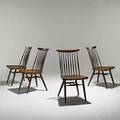 George nakashima set of four walnut and hickory new chairs unmarked 35 x 19 x 17
