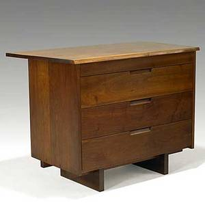 George nakashima walnut chest of drawers with free edge provenance available unmarked 31 34 x 42 x 21 14