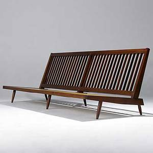 George nakashima long armless sofa in walnut cushions not shown accompanied by copy of original sales receipt unmarked 31 x 96 14 x 32