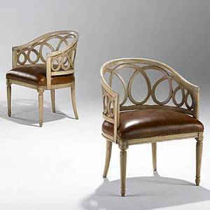 Style of frances elkins pair of leather and distressed finish oak armchairs unmarked 32 14 x 24 12 x 22