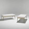 Rene prou pair of gilded iron and velvet benches unmarked 16 12 x 40 x 20 12