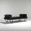 Jacques adnet leathercovered daybed unmarked 26 x 75 x 32