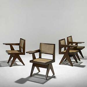 Pierre jeanneret four teak and cane library chairs with cushions not shown provenance chandigarh india stenciled numbers 32 x 21 x 25