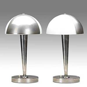 Jean perzel pair of nickelplated metal and opaline glass table lamps 1930s each stamped perzel 14 12 x 8 14
