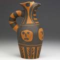 Picasso madoura terra cotta pitcher painted with abstract faces stamped madoura plein feu and incised edition picasso 147300 madoura 10 14 x 4 12 x 6 12