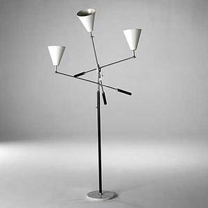 Arredoluce chromeplated brass enameled steel and marble floor lamp c 1960 stamped made italy on cap 65 x 35 x 35