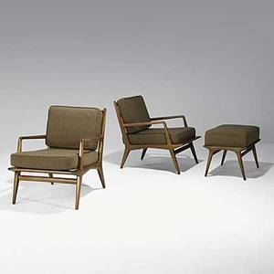 Carlo di carli singer  sons pair of italian walnut lounge chairs and single ottoman unmarked 30 x 24 x 33 ottoman 18 x 24 x 18
