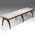 Bertha schaeffer singer  sons italian walnut and travertine cocktail table unmarked 15 14 x 60 x 17