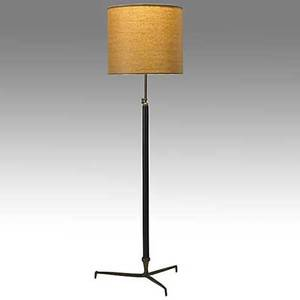 Style of paavo tynell leather and patinated brass adjustable floor lamp paper shade unmarked fully extended 74 x 26 dia