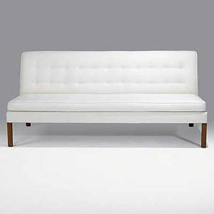 Jens risom jens risom design walnut and tufted wool sofa 1965 unmarked 32 x 72 x 32