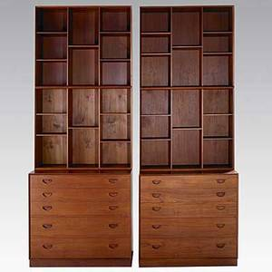 Peter hvidt and orla molgaardnielsen soberg mobler pair of dovetailed teak chests with four bookshelves foil label to one bookcase lower chest 33 x 35 x 19 each bookcase 30 x 35 12 x 10