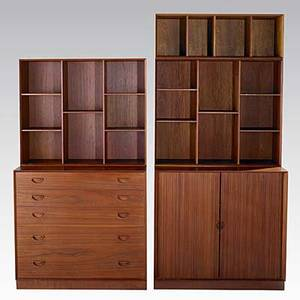 Peter hvidt and orla molgaardnielsen soberg mobler dovetailed teak chest tambour cabinet two large bookcases and one smaller foil label to chest lower chest and tambour cabinet 33 x 35 x 19
