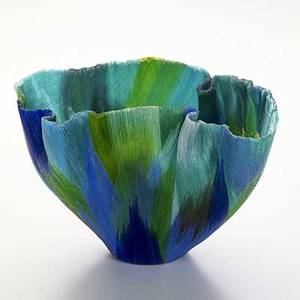 Mary ann toots zynsky fine fused glass bowl in polychrome signed z 7 12 x 12 x 9