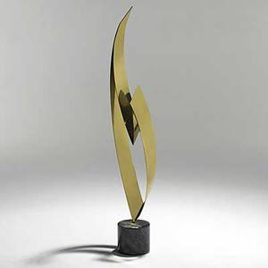 Curtis jere brass and marble sculpture 1987 signed and dated 52 x 10 x 7 12
