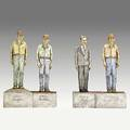 Jack earl four figural ceramic sculptures where is bill 1981 provenance collection of daniel jacobs and derek mason inscribed jack earl 1981 lakeview ohio tallest 16 12 x 6 14 x 4 12