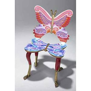Pedro friedeberg carved mexican mahogany silla mariposa chair with polychrome and gilt finish 1980s signed pedro friedeberg 35 x 20 x 18 12