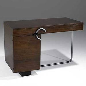 Gilbert rohde herman miller east india laurel enameled birch and brushed chrome desk c 1935 unmarked 29 x 43 34 x 22