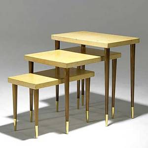 Paul frankl johnson furniture three mahogany cork and brass nesting tables stenciled numbers 5046392a largest 26 x 24 x 15 smallest 16 x 24 x 12