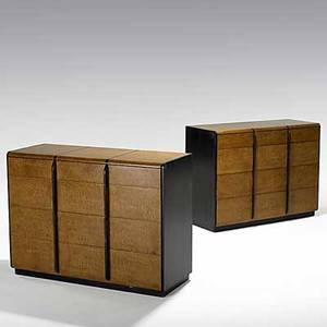 Gilbert rohde herman miller rare and early pair of quilted maple and macassar ebony dressers no 3773 1930s foil labels 34 x 46 x 19 12