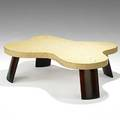 Paul frankl johnson furniture lacquered cork and sculpted mahogany cocktail table stenciled 5005 313 14 12 x 48 x 36