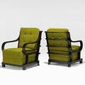 Art deco pair of mahogany and wool club chairs unmarked 34 12 x 25 34 x 36