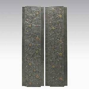 Style of edgar brandt pair of iron copper and brass architectural panels unmarked each 57 34 x 15 12