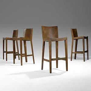 Karl springer set of four jmf leatherclad bar stools with brass footrests 1986 each with leather label branded karl springer 1986 40 12 x 17 12 x 17 12