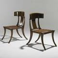 Style of th robsjohngibbings pair of carved walnut and leather klismos chairs unmarked 35 x 21 x 30