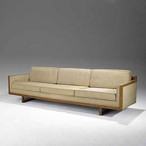 Th robsjohngibbings attr widdicomb mahogany and wool threeseat sofa widdicomb fabric label 29 x 108 x 32 34