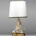 Carol stupell fine rock crystal brass and gilt wood table lamp linen shade 1950s unmarked 35 x 14 12 x 7 12