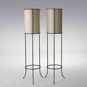Th robsjohngibbings hansen pair of brass floor lamps with original linen shades unmarked 56 x 17 34 dia