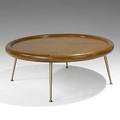 Th robsjohngibbings widdicomb fine mahogany and brass cocktail table marked with widdicomb decal sherry 854 1784 17 x 41 12