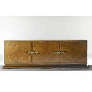 Tommi parzinger charak bookmatched primavera and brass cabinet charak decal 32 x 97 x 18 14