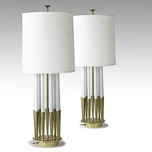 Tommi parzinger attr stiffel lamp co pair of tall brass and enameled metal table lamps new silk drum shades stiffel paper label 48 x 10 14 base shade 17 12