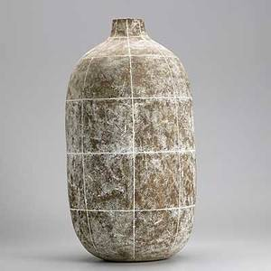 Claude conover tall ceramic vessel toltec with incised grid signed and titled 22 x 11 14
