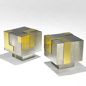 Paul evans directional unusual pair of brass and matte chrome cityscape occasional tables limited studio production unmarked 16 x 16 sq