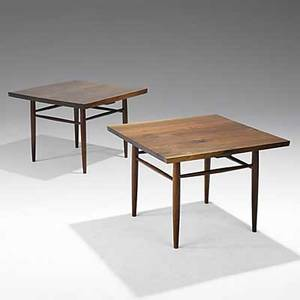 George nakashima pair of walnut sofa tables accompanied by copy of original sales receipt one signed with clients name 21 x 29 sq