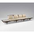 Phil powell sculpted walnut and travertine sofa with integrated tables unmarked 30 12 x 149 x 27