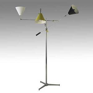Arredoluce chromed brass threearm floor lamp with enameled steel shades c 1950 interior of white shade stamped made in italy arredoluce monza as shown 71 12 x 53 x 42