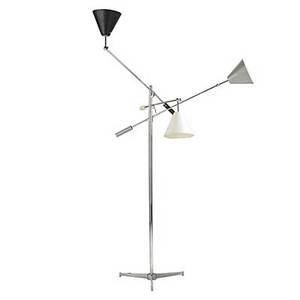Arredoluce chromed brass threearm floor lamp with enameled steel shades c 1950 interiors of shades stamped arredoluce monza italy as shown 81 x 46 x 41