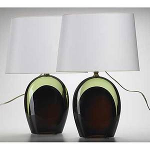 Seguso pair of sommerso cased glass lamps paper shades each inscribed seguso va 21 x 8 x 5