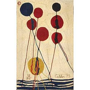 Alexander calder bonart maguey fiber tapestry balloons 1975 woven signature and date 12100 with copyright 84 x 56